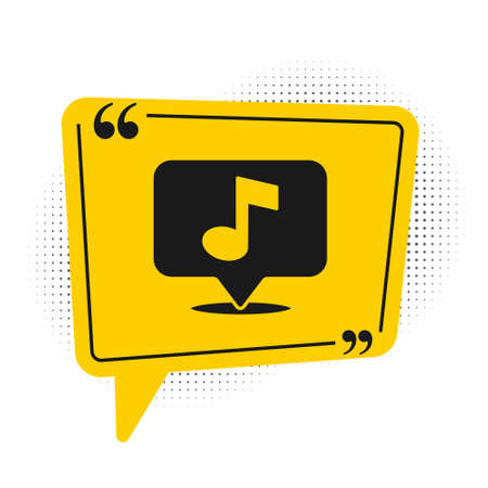 Black Musical note in speech bubble icon isolated on white background. Music and sound concept. Yellow speech bubble symbol. Vector