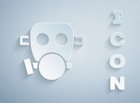 Paper cut Gas mask icon isolated on grey background. Respirator sign. Paper art style. Vector 写真素材 - 159554131