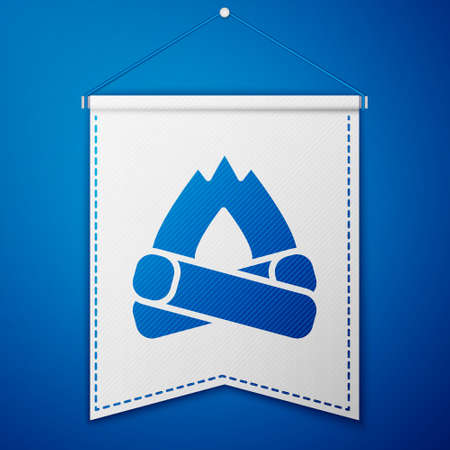 Blue Campfire icon isolated on blue background. Burning bonfire with wood. White pennant template. Vector 写真素材 - 159554132