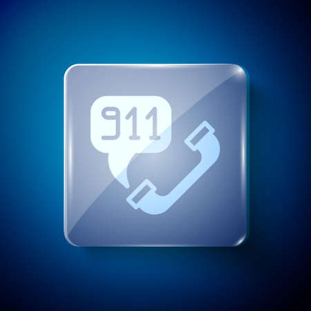 White Telephone with emergency call 911 icon isolated on blue background. Police, ambulance, fire department, call, phone. Square glass panels. Vector