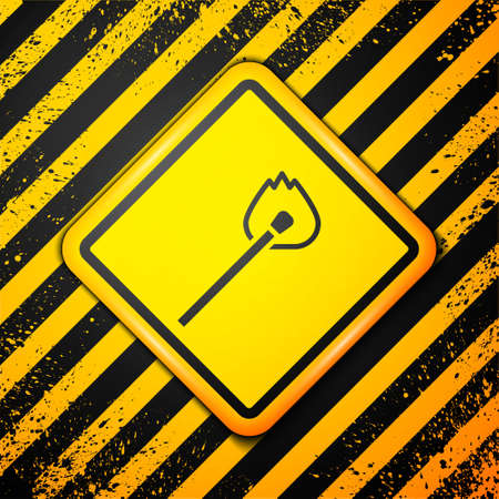 Black Burning match with fire icon isolated on yellow background. Match with fire. Matches sign. Warning sign. Vector 写真素材 - 159554134