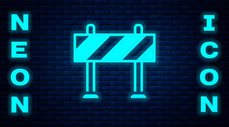 Glowing neon Road barrier icon isolated on brick wall background. Symbol of restricted area which are in under construction processes. Repair works. Vector 写真素材 - 159554137