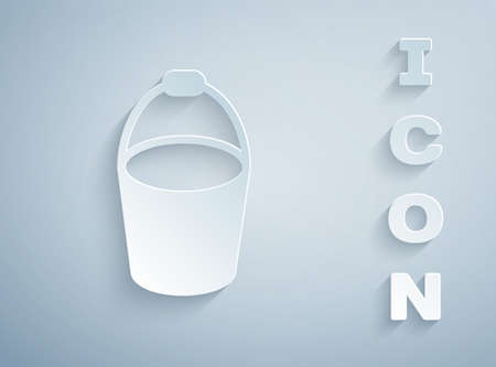 Paper cut Fire bucket icon isolated on grey background. Metal bucket empty or with water for fire fighting. Paper art style. Vector 写真素材 - 159554140