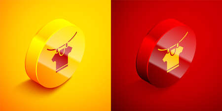 Isometric Drying clothes icon isolated on orange and red background. Clean shirt. Wash clothes on a rope with clothespins. Clothing care and tidiness. Circle button. Vector 写真素材 - 159554145