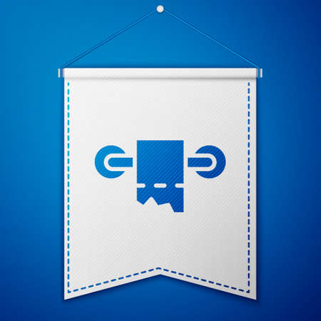 Blue Toilet paper roll icon isolated on blue background. White pennant template. Vector