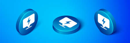 Isometric Lightning bolt icon isolated on blue background. Flash icon. Charge flash icon. Thunder bolt. Lighting strike. Blue circle button. Vector
