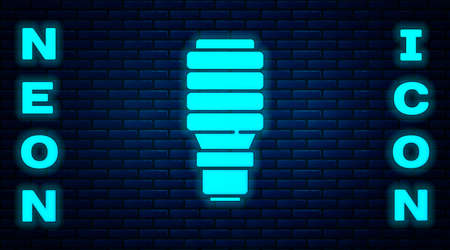Glowing neon LED light bulb icon isolated on brick wall background. Economical LED illuminated lightbulb. Save energy lamp. Vector