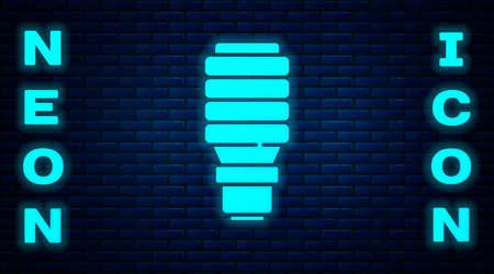 Glowing neon LED light bulb icon isolated on brick wall background. Economical LED illuminated lightbulb. Save energy lamp. Vector 写真素材 - 159554178