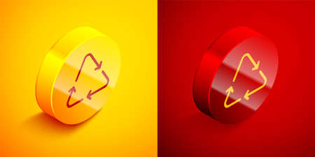 Isometric Recycle symbol icon isolated on orange and red background. Circular arrow icon. Environment recyclable go green. Circle button. Vector 写真素材 - 159554193