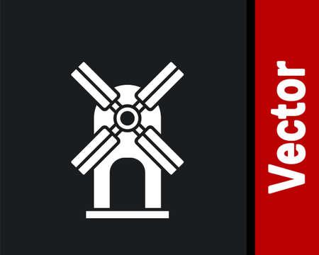 White Wind turbine icon isolated on black background. Wind generator sign. Windmill for electric power production. Vector 写真素材 - 159554217