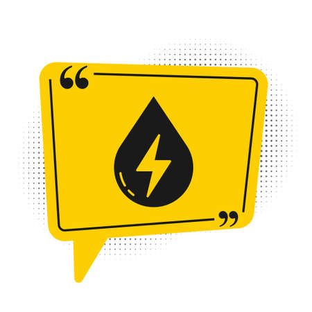 Black Water energy icon isolated on white background. Ecology concept with water droplet. Alternative energy concept. Yellow speech bubble symbol. Vector 写真素材 - 159554238