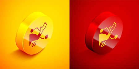 Isometric Prosthesis hand icon isolated on orange and red background. Futuristic concept of bionic arm, robotic mechanical hand. Circle button. Vector