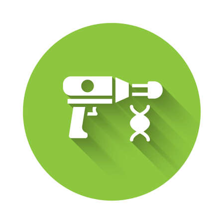 White Transfer liquid gun in biological laborator icon isolated with long shadow. Green circle button. Vector