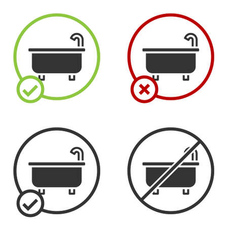 Black Bathtub icon isolated on white background. Circle button. Vector