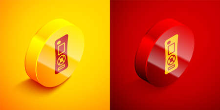 Isometric Remote control icon isolated on orange and red background. Circle button. Vector 写真素材 - 159554446