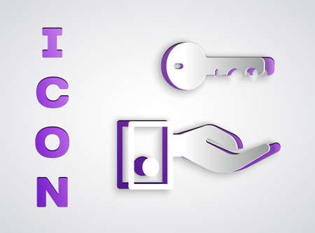 Paper cut Hotel door lock key icon isolated on grey background. Paper art style. Vector 写真素材 - 159554453