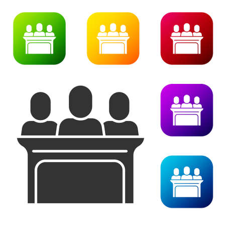 Black Jurors icon isolated on white background. Set icons in color square buttons. Vector
