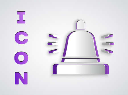 Paper cut Hotel service bell icon isolated on grey background. Reception bell. Paper art style. Vector 写真素材 - 159554566