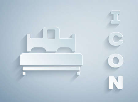 Paper cut Bedroom icon isolated on grey background. Wedding, love, marriage symbol. Bedroom creative icon from honeymoon collection. Paper art style. Vector 写真素材 - 159554574