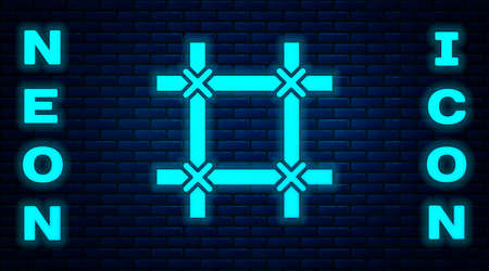 Glowing neon Prison window icon isolated on brick wall background. Vector