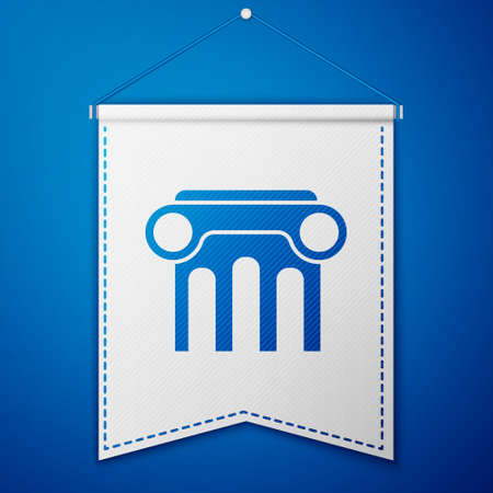 Blue Law pillar icon isolated on blue background. White pennant template. Vector