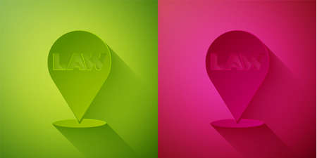 Paper cut Location law icon isolated on green and pink background. Paper art style. Vector 写真素材 - 159554598
