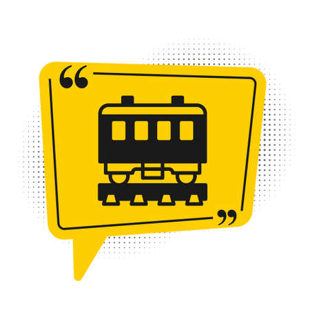 Black Passenger train icon isolated on white background. Railway carriage. Yellow speech bubble symbol. Vector  イラスト・ベクター素材