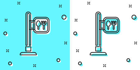 Black line Cafe and restaurant location icon isolated on green and white background. Fork and spoon eatery sign inside pinpoint. Random dynamic shapes. Vector. 写真素材 - 159554771