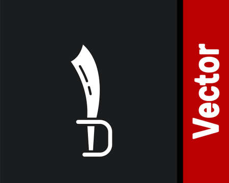 White Pirate sword icon isolated on black background. Saber sign. Vector 写真素材 - 159554953