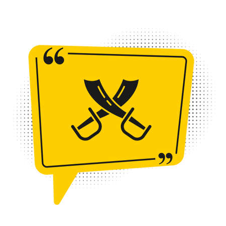 Black Crossed pirate swords icon isolated on white background. Sabre sign. Yellow speech bubble symbol. Vector