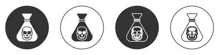 Black Pirate coin icon isolated on white background. Circle button. Vector  イラスト・ベクター素材