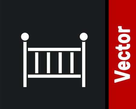 White Baby crib cradle bed icon isolated on black background. Vector