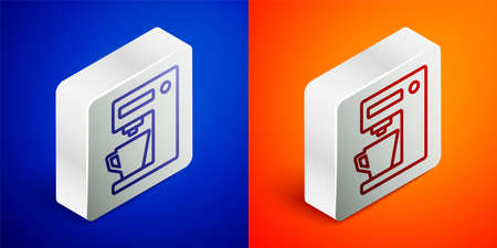 Isometric line Coffee machine icon isolated on blue and orange background. Silver square button. Vector Illustration Ilustração