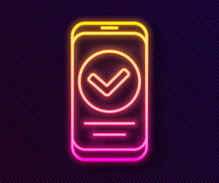 Glowing neon line Smartphone, mobile phone icon isolated on black background. Vector