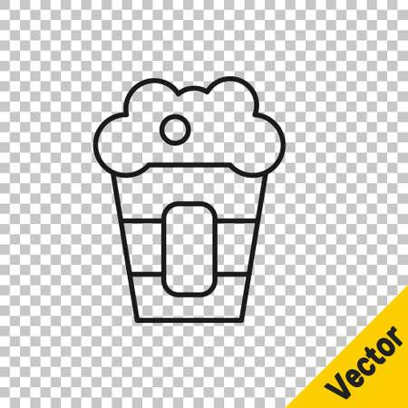 Black line Popcorn in cardboard box icon isolated on transparent background. Popcorn bucket box. Vector