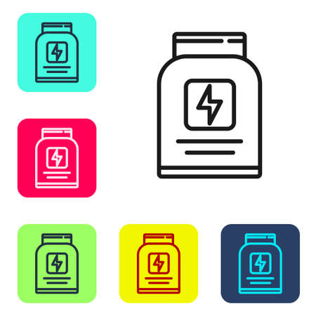 Black line Sports nutrition bodybuilding proteine power drink and food icon isolated on white background. Set icons in color square buttons. Vector