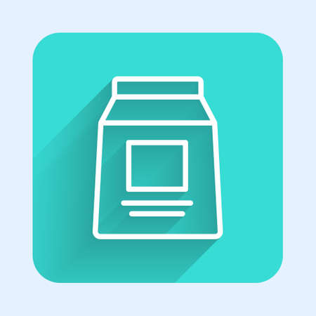 White line Sports nutrition bodybuilding proteine power drink and food icon isolated with long shadow. Green square button. Vector