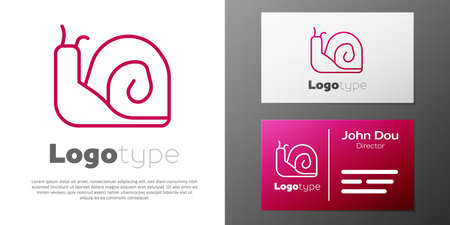 Logotype line Snail icon isolated on white background. Logo design template element. Vector
