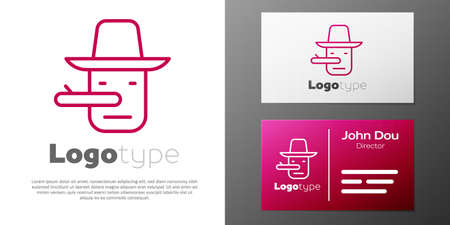 Logotype line Pinocchio icon isolated on white background. Logo design template element. Vector