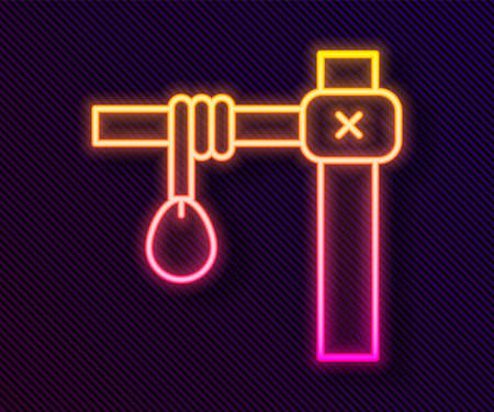 Glowing neon line Gallows rope loop hanging icon isolated on black background. Rope tied into noose. Suicide, hanging or lynching. Vector Çizim