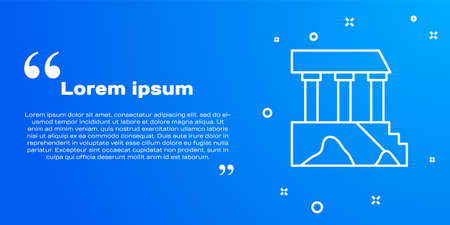 White line Parthenon from Athens, Acropolis, Greece icon isolated on blue background. Greek ancient national landmark. Vector