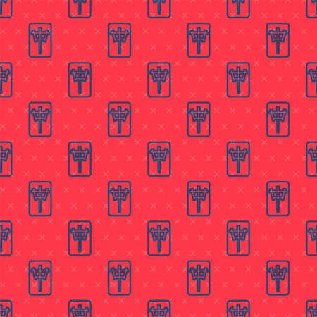 Blue line Mahjong pieces icon isolated seamless pattern on red background. Chinese mahjong red dragon game emoji. Vector