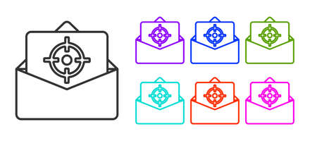 Black line Mail and e-mail icon isolated on white background. Envelope symbol e-mail. Email message sign. Set icons colorful. Vector