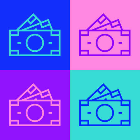 Pop art line Stacks paper money cash icon isolated on color background. Money banknotes stacks. Bill currency. Vector