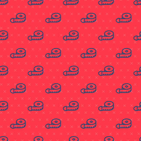 Blue line Tape measure icon isolated seamless pattern on red background. Measuring tape. Vector