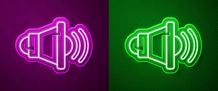 Glowing neon line Speaker volume, audio voice sound symbol, media music icon isolated on purple and green background. Vector