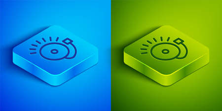 Isometric line Ringing alarm bell icon isolated on blue and green background. Fire alarm system. Service bell, handbell sign, notification symbol. Square button. Vector