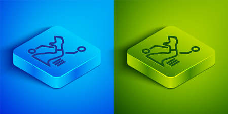 Isometric line Prosthesis hand icon isolated on blue and green background. Futuristic concept of bionic arm, robotic mechanical hand. Square button. Vector