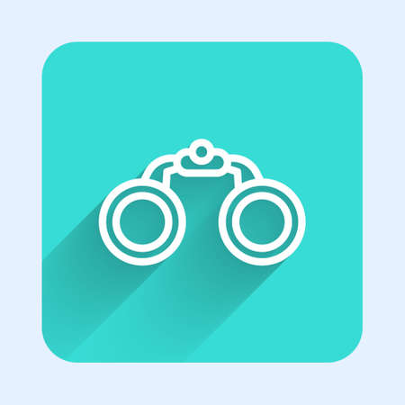 White line Binoculars icon isolated with long shadow. Find software sign. Spy equipment symbol. Green square button. Vector