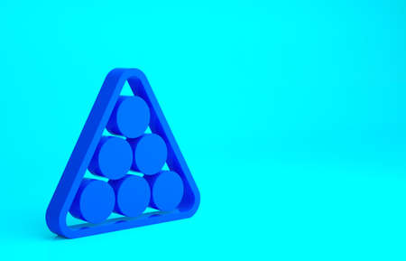 Blue Billiard balls in a rack triangle icon isolated on blue background. Minimalism concept. 3d illustration 3D render Stok Fotoğraf